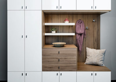Flat Panel White Entryway Storage